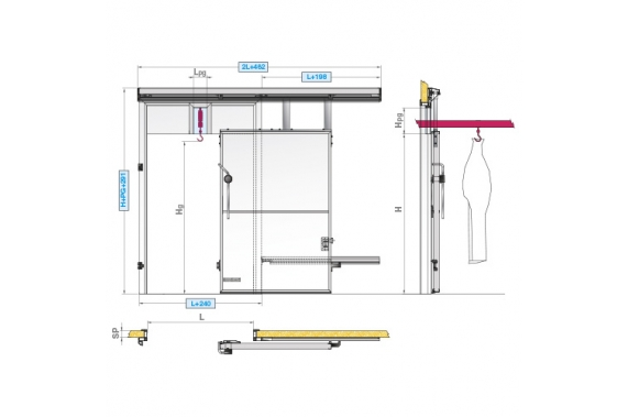 Sliding doors with rail passage INCOLD