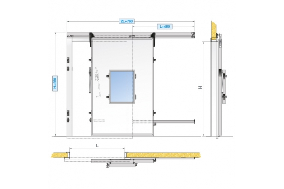 Sliding doors for controlled atmosphere INCOLD
