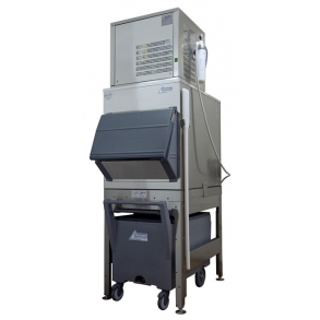 300kg Nugget Ice Machine with 200kg Elevated Bin and Cart Ziegra