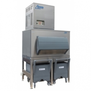 750 kg flake ice machine with 400kg elevated bin and cart Ziegra