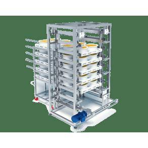 Descending conveyor belt with positioning | DONI®Transdown